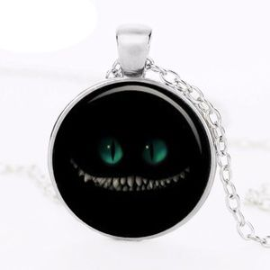 Cheshire Cat Glass Dome Pendant Necklace